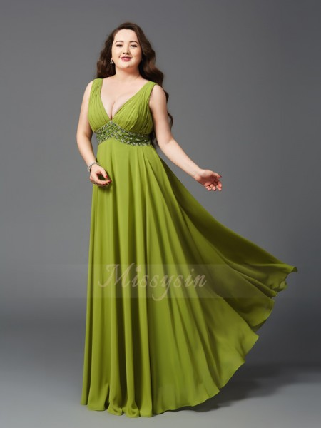 A-Line/Princess Sleeveless Straps Rhinestone Floor-Length Chiffon Plus Size Dresses