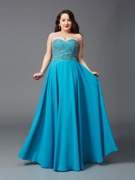 A-Line/Princess Sleeveless Sweetheart Beading Floor-Length Chiffon Plus Size Dresses