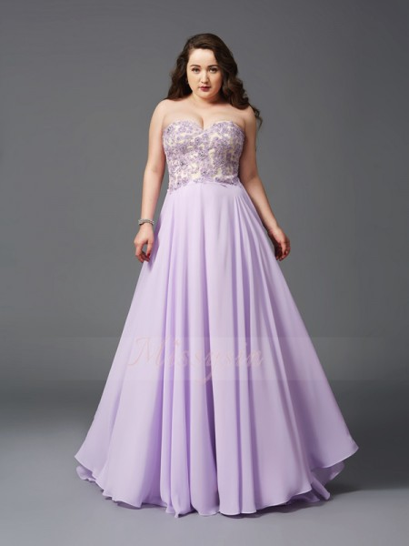 A-Line/Princess Sleeveless Sweetheart Sweep/Brush Train Chiffon Plus Size Dresses