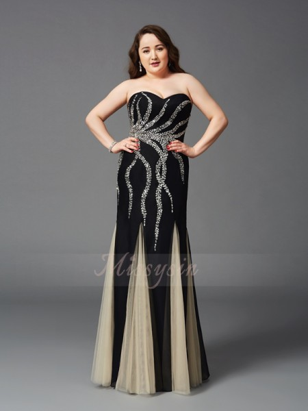 Sheath/Column Sleeveless Sweetheart Beading Floor-Length Chiffon Plus Size Dresses