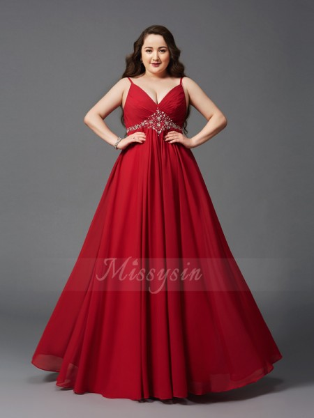 A-Line/Princess Sleeveless Spaghetti Straps Beading Floor-Length Chiffon Plus Size Dresses