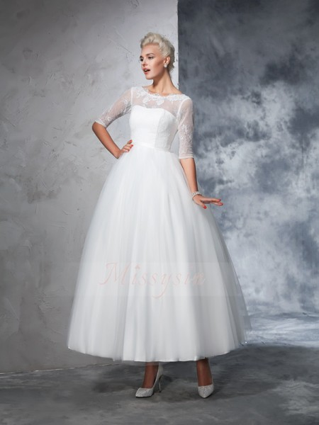 Ball Gown 1/2 Sleeves Bateau Ankle-Length Net Wedding Dresses