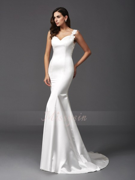 Trumpet/Mermaid Sleeveless Straps Beading Sweep/Brush Train Satin Wedding Dresses
