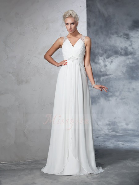 A-Line/Princess Sleeveless V-neck Ruched Sweep/Brush Train Chiffon Wedding Dresses