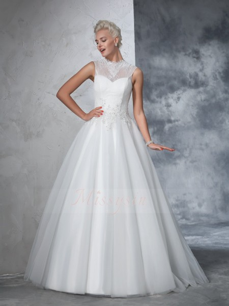 Ball Gown Sleeveless High Neck Applique Floor-Length Net Wedding Dresses