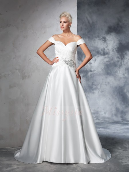 Ball Gown Sleeveless Off-the-Shoulder Ruched Chapel Train Taffeta Wedding Dresses