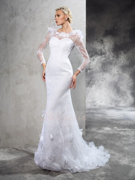 Sheath/Column Long Sleeves Sheer Neck Hand-Made Flower Court Train Satin Wedding Dresses