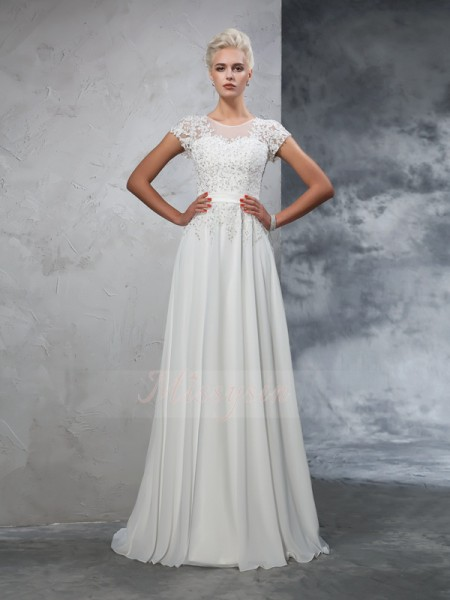 A-Line/Princess Short Sleeves Sheer Neck Applique Sweep/Brush Train Chiffon Wedding Dresses