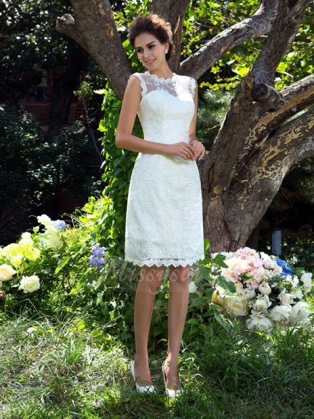 A-Line/Princess Sleeveless Sheer Neck Applique Knee-Length Satin Wedding Dresses
