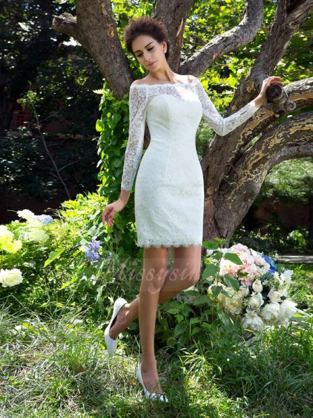Sheath/Column Long Sleeves Scoop Other Short/Mini Satin Wedding Dresses