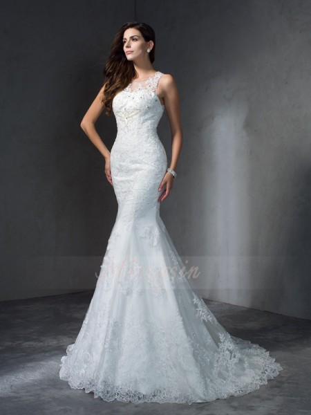 Trumpet/Mermaid Sleeveless Scoop Applique Court Train Lace Wedding Dresses