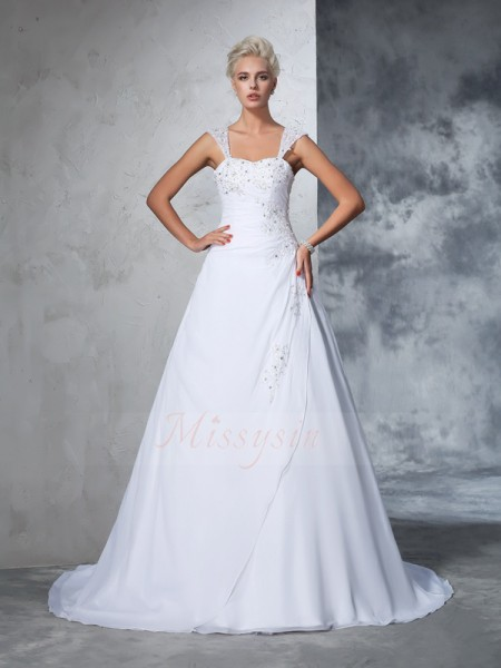 Ball Gown Sleeveless Straps Applique Court Train Chiffon Wedding Dresses