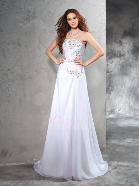 Sheath/Column Sleeveless Strapless Beading Sweep/Brush Train Chiffon Wedding Dresses