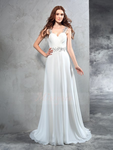 A-Line/Princess Sleeveless Sweetheart Pleats Sweep/Brush Train Chiffon Wedding Dresses