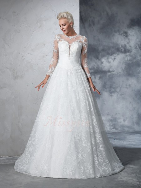 Ball Gown Long Sleeves Jewel Court Train Lace Wedding Dresses