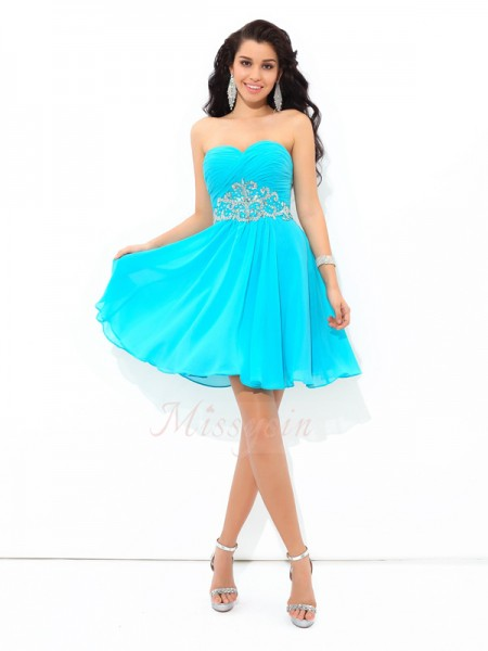 A-Line/Princess Sleeveless Sweetheart Pleats Short/Mini Chiffon Cocktail Dresses