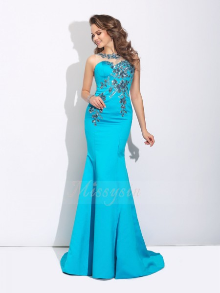 Trumpet/Mermaid Sleeveless Scoop Applique Sweep/Brush Train Satin Dresses