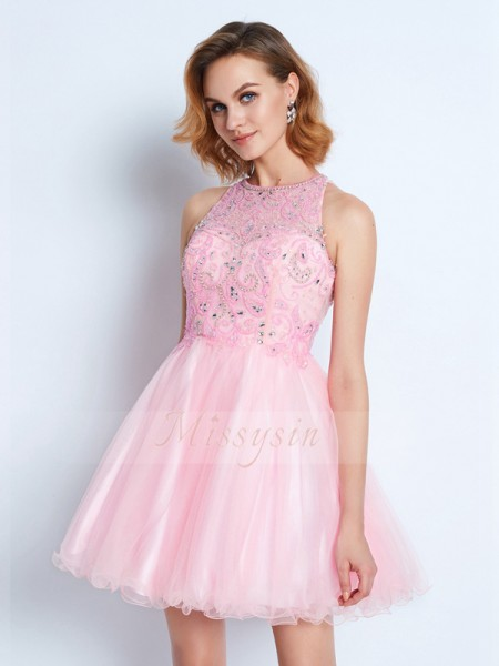 A-Line/Princess Jewel Short/Mini Ruffles Sleeveless Net Dresses