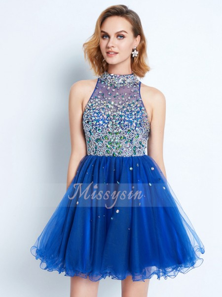 A-Line/Princess High Neck Short/Mini Ruffles Sleeveless Net Dresses