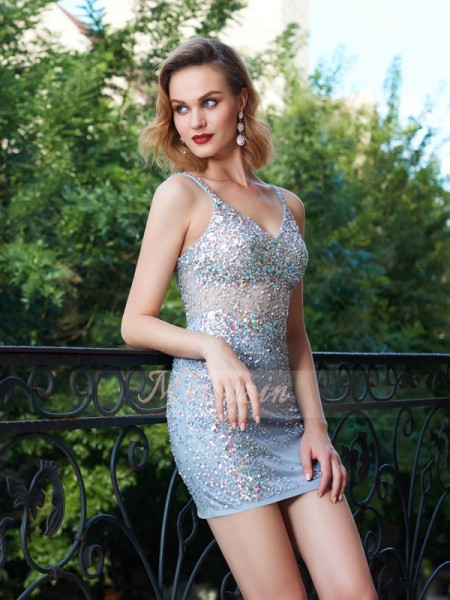 Sheath/Column Spaghetti Straps Short/Mini Sequin Sleeveless Net Dresses