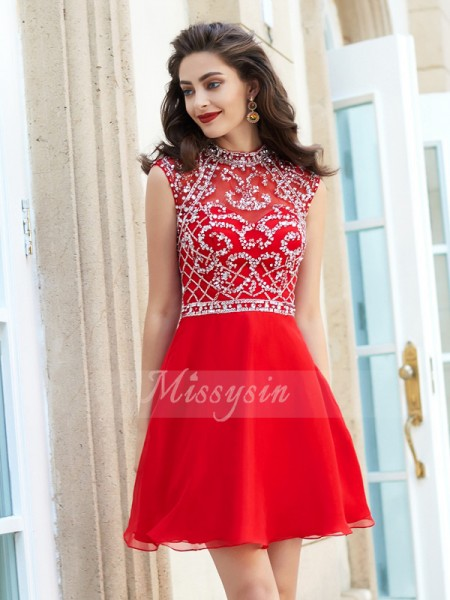 A-Line/Princess High Neck Short/Mini Beading Sleeveless Chiffon Dresses