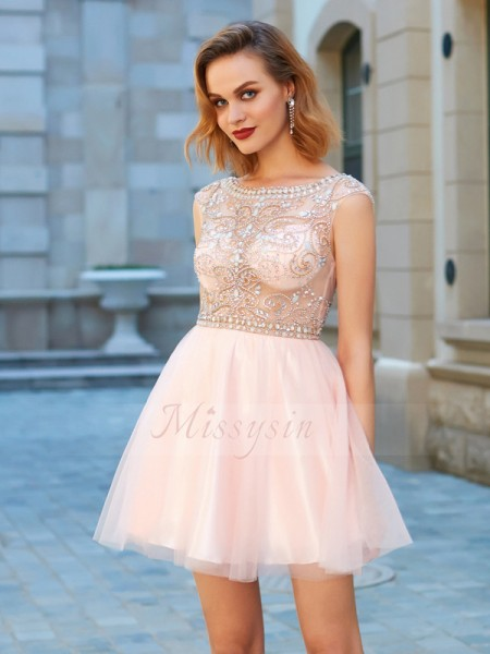 A-Line/Princess Scoop Short/Mini Beading Short Sleeves Net Dresses