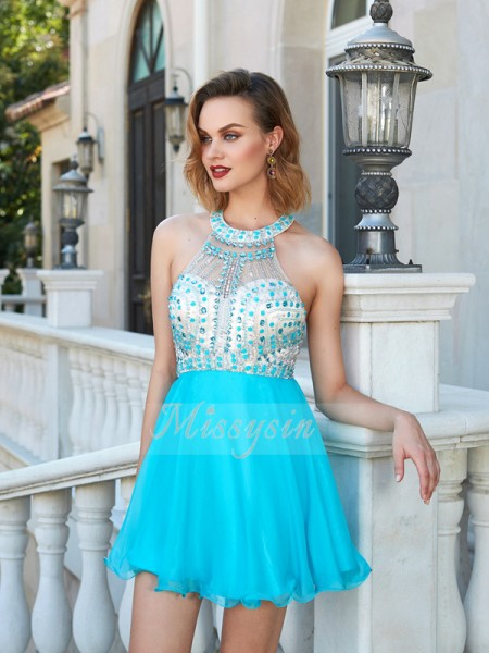 A-Line/Princess Halter Short/Mini Beading Sleeveless Chiffon Dresses