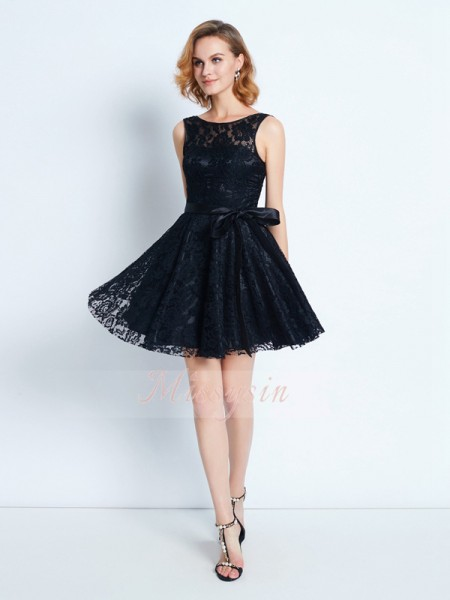 A-Line/Princess Scoop Short/Mini Sash/Ribbon/Belt Sleeveless Lace Dresses