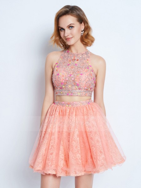 A-Line/Princess Jewel Short/Mini Sleeveless Lace Two Piece Dresses