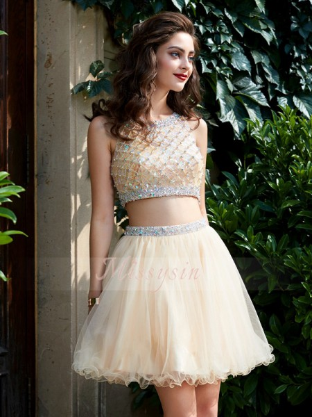 A-Line/Princess Scoop Short/Mini Beading Sleeveless Net Two Piece Dresses