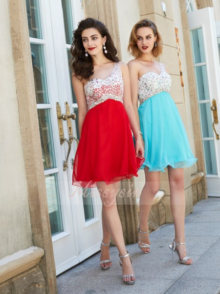 A-Line/Princess One-Shoulder Short/Mini Beading Sleeveless Chiffon Dresses