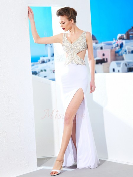 Sheath/Column Floor-Length V-neck Beading Sleeveless Spandex Dresses