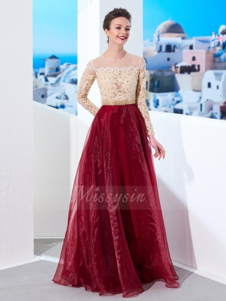 A-Line/Princess Floor-Length Sheer Neck Applique Long Sleeves Organza Dresses