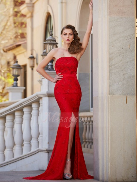 Trumpet/Mermaid Sweep/Brush Train Strapless Beading Sleeveless Satin Dresses
