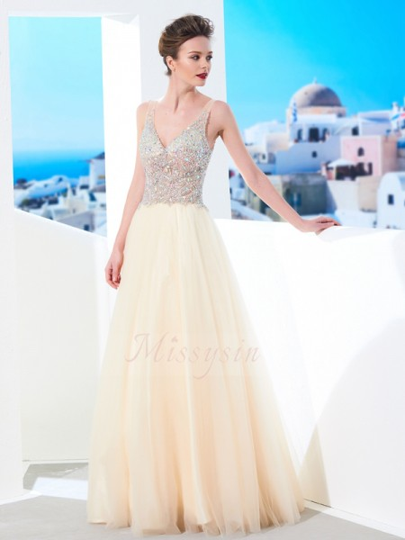 Ball Gown Floor-Length V-neck Beading Sleeveless Tulle Dresses