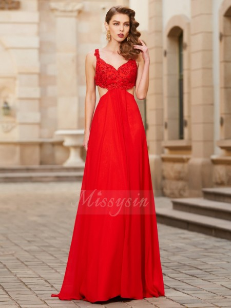 A-Line/Princess Floor-Length Straps Applique Sleeveless Chiffon Dresses