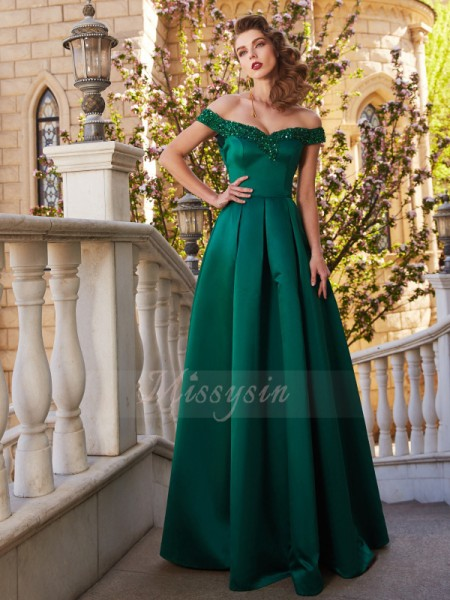 A-Line/Princess Floor-Length Off-the-Shoulder Sequin Sleeveless Satin Dresses