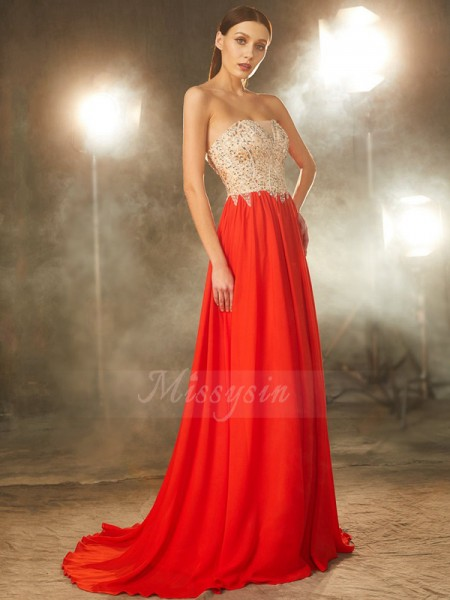 A-Line/Princess Sweep/Brush Train Strapless Beading Sleeveless Chiffon Dresses