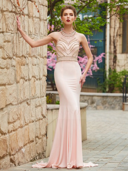 Sheath/Column Sweep/Brush Train Scoop Beading Sleeveless Spandex Dresses