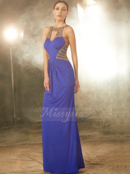 Sheath/Column Floor-Length Scoop Beading Sleeveless Spandex Dresses