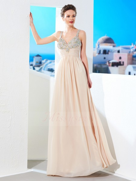 A-Line/Princess Floor-Length Spaghetti Straps Beading Sleeveless Chiffon Dresses