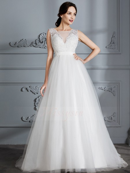 A-Line/Princess Sleeveless Tulle Sweep/Brush Train V-neck Wedding Dresses 71001