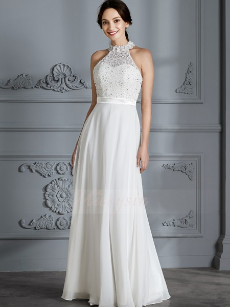 A-Line/Princess Sleeveless Chiffon Floor-Length Scoop Wedding Dresses 71002