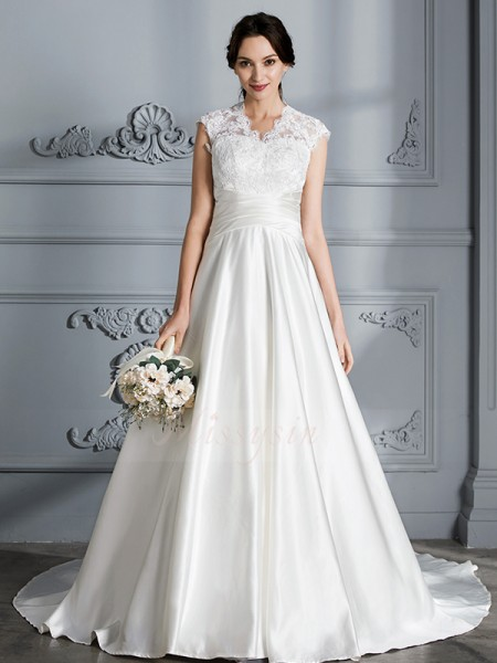Ball Gown Sleeveless Satin Court Train V-neck Wedding Dresses 71004