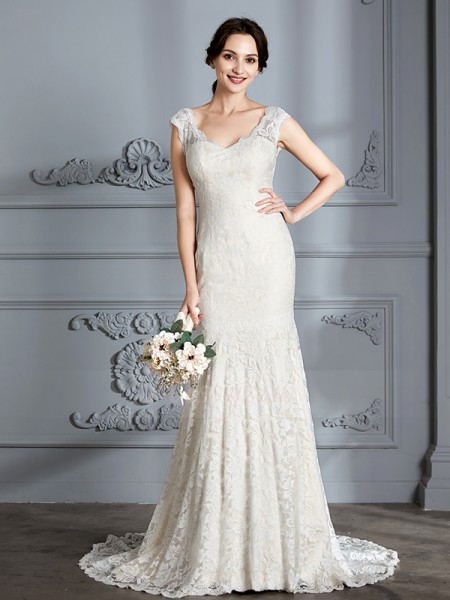 Trumpet/Mermaid Sleeveless Lace Sweep/Brush Train V-neck Wedding Dresses 71008