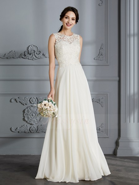 A-Line/Princess Sleeveless Chiffon Floor-Length Scoop Wedding Dresses 71009