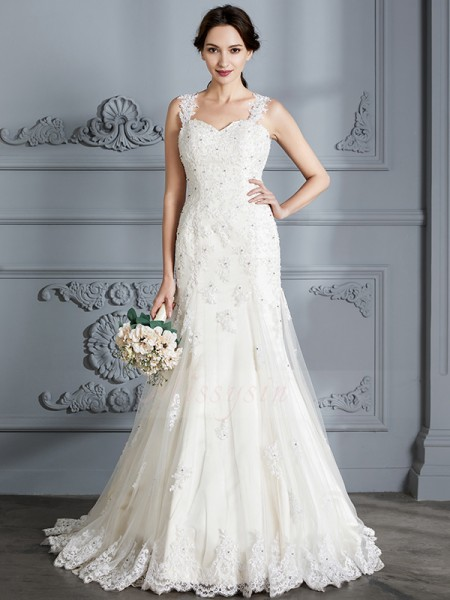 Trumpet/Mermaid Sleeveless Lace Court Train Sweetheart Wedding Dresses 71010
