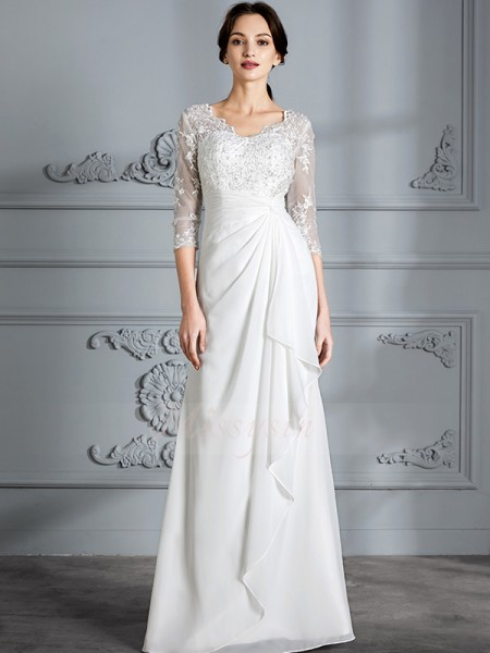 Sheath/Column 3/4 Sleeves Chiffon Floor-Length V-neck Wedding Dresses 71014