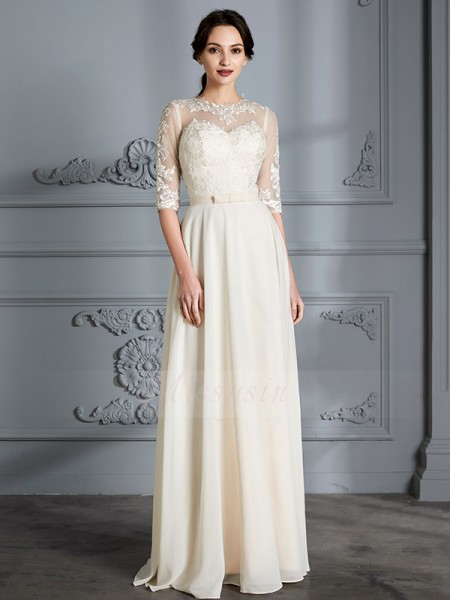 A-Line/Princess 1/2 Sleeves Chiffon Floor-Length Scoop Wedding Dresses 71017