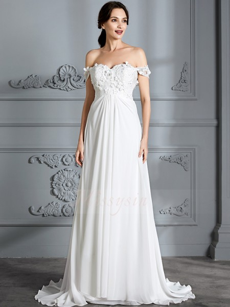 A-Line/Princess Sleeveless Chiffon Floor-Length Off-the-Shoulder Wedding Dresses 71019